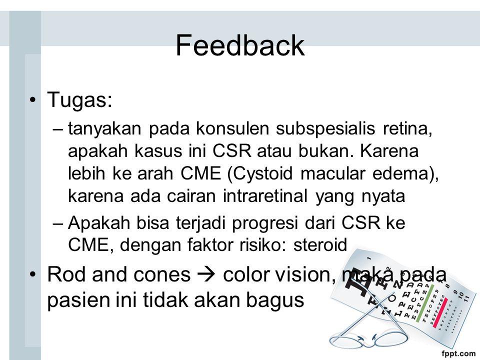 Feedback Tugas: –tanyakan pada konsulen subspesialis retina, apakah kasus ini CSR atau bukan. Karena lebih ke arah CME (Cystoid macular edema), karena