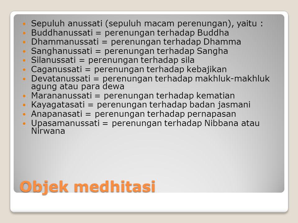 Objek medhitasi Sepuluh anussati (sepuluh macam perenungan), yaitu : Buddhanussati = perenungan terhadap Buddha Dhammanussati = perenungan terhadap Dh