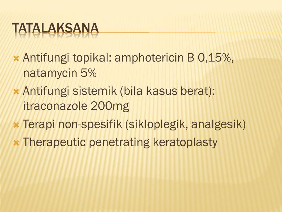  Antifungi topikal: amphotericin B 0,15%, natamycin 5%  Antifungi sistemik (bila kasus berat): itraconazole 200mg  Terapi non-spesifik (sikloplegik