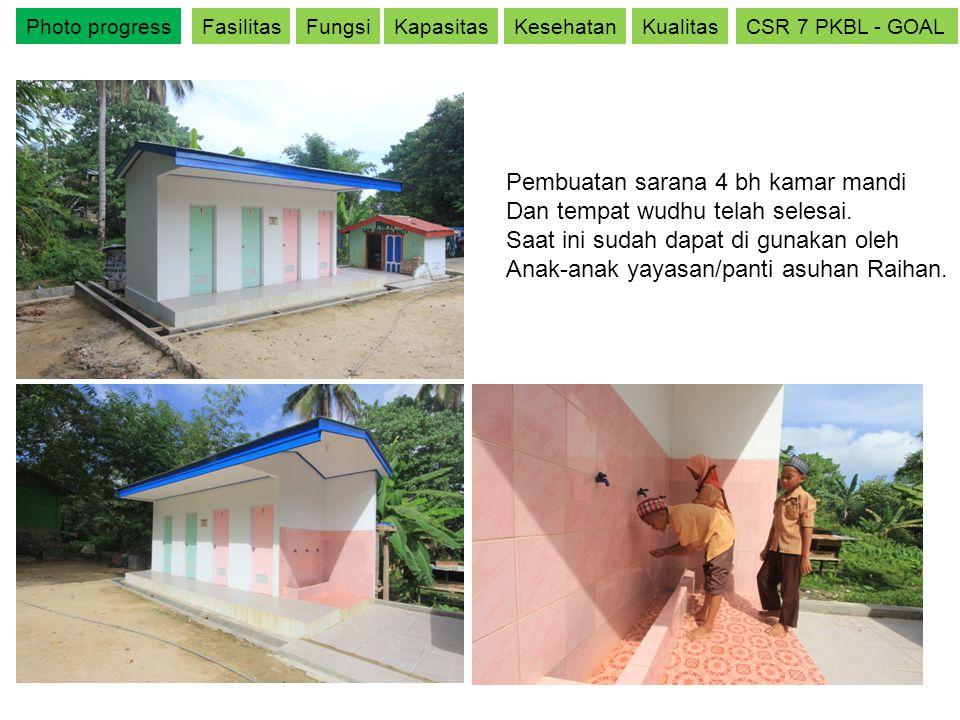 Photo progressFasilitasFungsiKapasitasKesehatanKualitasCSR 7 PKBL - GOAL Pembuatan sarana 4 bh kamar mandi Dan tempat wudhu telah selesai. Saat ini su