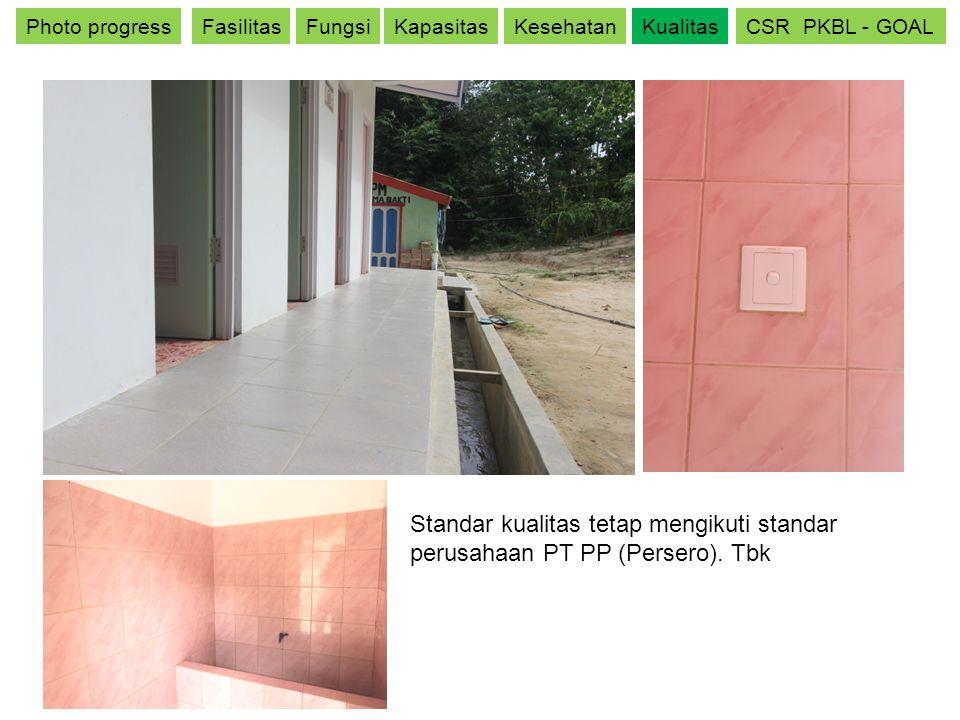 Photo progressFasilitasFungsiKapasitasKesehatanKualitasCSR PKBL - GOAL Standar kualitas tetap mengikuti standar perusahaan PT PP (Persero). Tbk