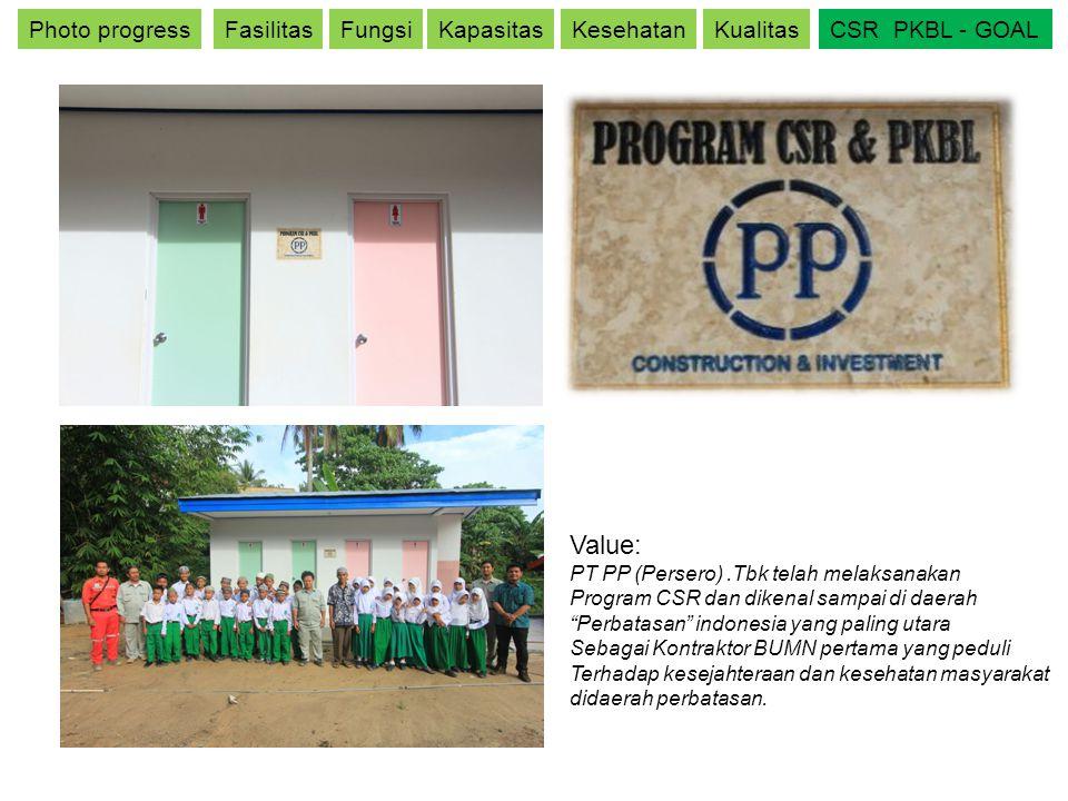 Photo progressFasilitasFungsiKapasitasKesehatanKualitasCSR PKBL - GOAL Value: PT PP (Persero).Tbk telah melaksanakan Program CSR dan dikenal sampai di
