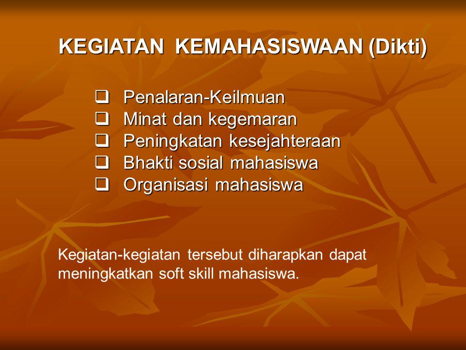  Penalaran-Keilmuan  Minat dan kegemaran  Peningkatan kesejahteraan  Bhakti sosial mahasiswa  Organisasi mahasiswa KEGIATAN KEMAHASISWAAN (Dikti)
