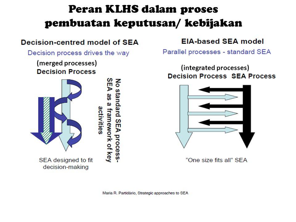 Peran KLHS dalam proses pembuatan keputusan/ kebijakan (integrated processes) (merged processes)