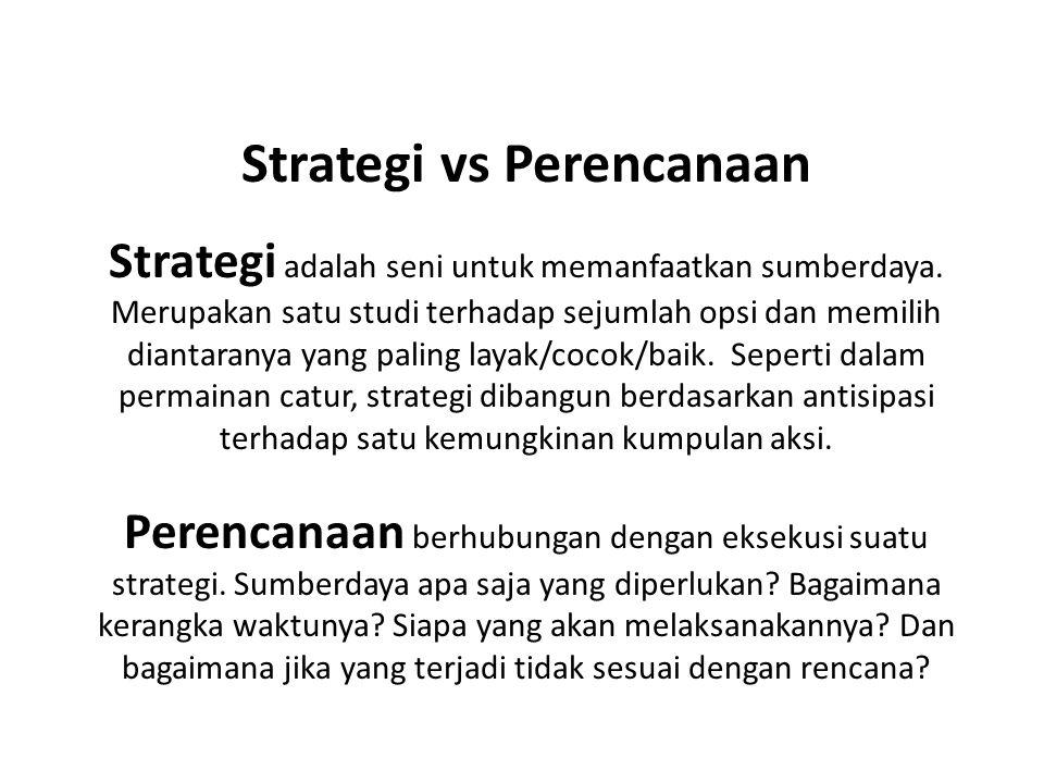 Strategi vs Perencanaan Strategi adalah seni untuk memanfaatkan sumberdaya. Merupakan satu studi terhadap sejumlah opsi dan memilih diantaranya yang p