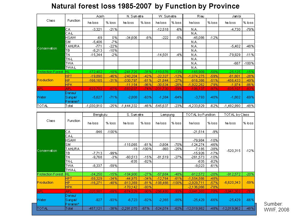 Natural forest loss 1985-2007 by Function by Province Sumber: WWF, 2008