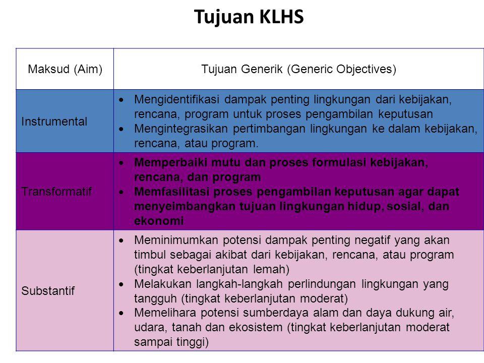 Tujuan KLHS Maksud (Aim)Tujuan Generik (Generic Objectives) Instrumental  Mengidentifikasi dampak penting lingkungan dari kebijakan, rencana, program untuk proses pengambilan keputusan  Mengintegrasikan pertimbangan lingkungan ke dalam kebijakan, rencana, atau program.