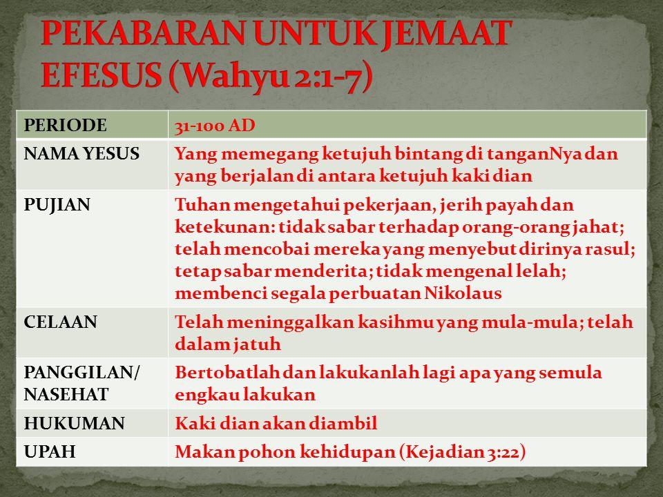PERIODE31-100 AD NAMA YESUSYang memegang ketujuh bintang di tanganNya dan yang berjalan di antara ketujuh kaki dian PUJIANTuhan mengetahui pekerjaan,
