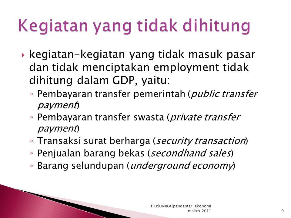  kegiatan-kegiatan yang tidak masuk pasar dan tidak menciptakan employment tidak dihitung dalam GDP, yaitu: ◦ Pembayaran transfer pemerintah (public