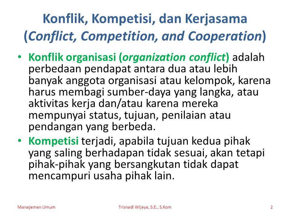 Konflik, Kompetisi, dan Kerjasama (Conflict, Competition, and Cooperation) Konflik organisasi (organization conflict) adalah perbedaan pendapat antara