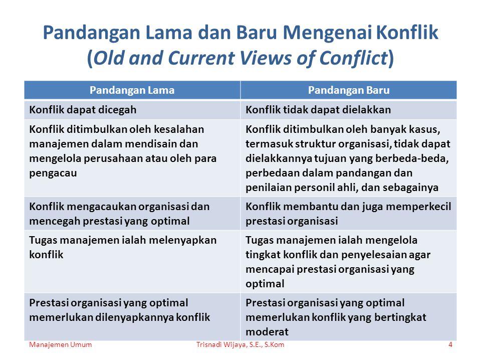 Pandangan Lama dan Baru Mengenai Konflik (Old and Current Views of Conflict) Pandangan LamaPandangan Baru Konflik dapat dicegahKonflik tidak dapat die