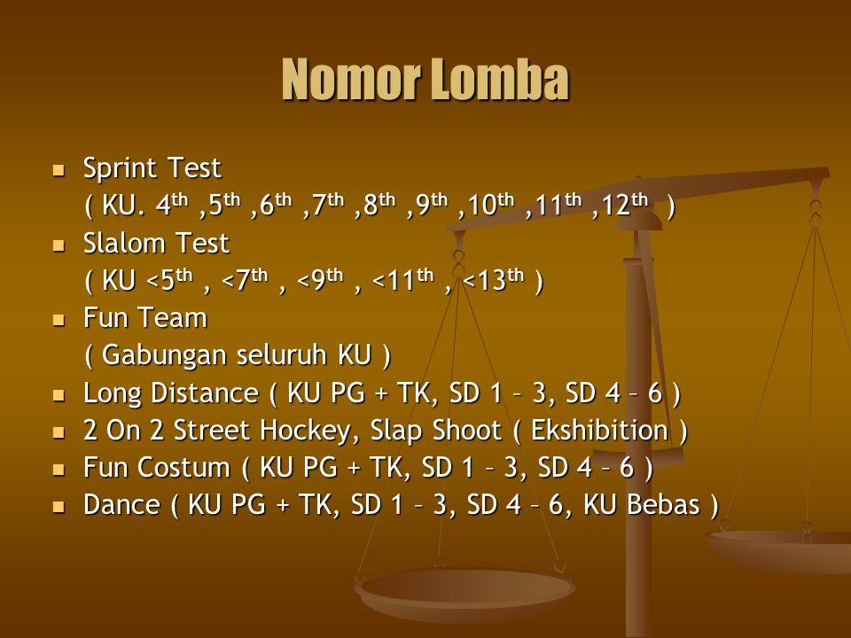 Nomor Lomba Sprint Test Sprint Test ( KU. 4 th,5 th,6 th,7 th,8 th,9 th,10 th,11 th,12 th ) Slalom Test Slalom Test ( KU <5 th, <7 th, <9 th, <11 th,
