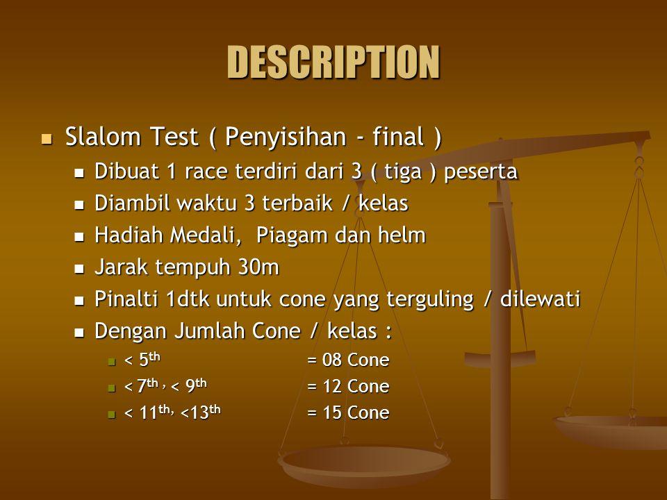 DESCRIPTION Slalom Test ( Penyisihan - final ) Slalom Test ( Penyisihan - final ) Dibuat 1 race terdiri dari 3 ( tiga ) peserta Dibuat 1 race terdiri