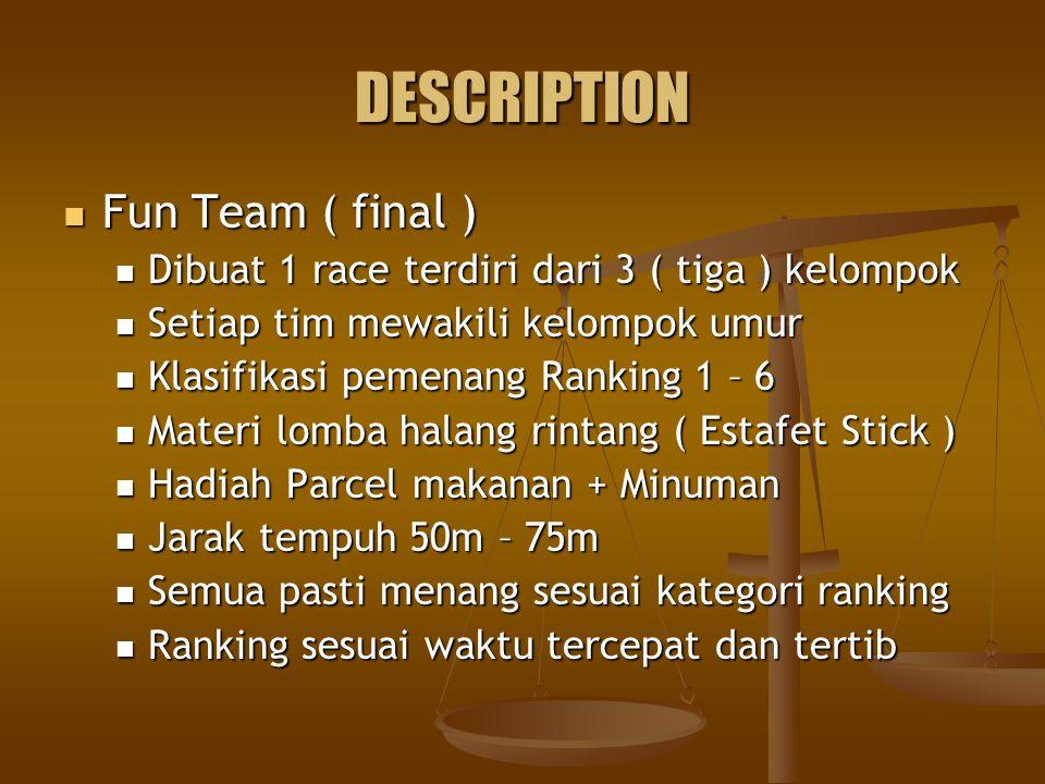 DESCRIPTION Fun Team ( final ) Fun Team ( final ) Dibuat 1 race terdiri dari 3 ( tiga ) kelompok Dibuat 1 race terdiri dari 3 ( tiga ) kelompok Setiap