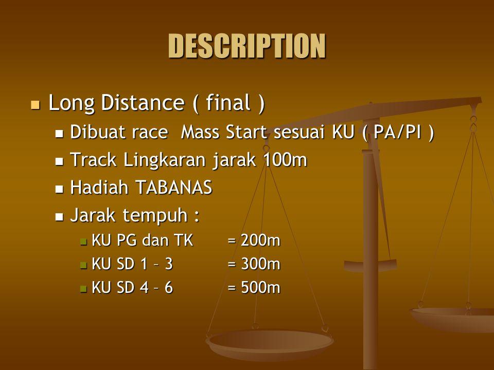 DESCRIPTION Long Distance ( final ) Long Distance ( final ) Dibuat race Mass Start sesuai KU ( PA/PI ) Dibuat race Mass Start sesuai KU ( PA/PI ) Track Lingkaran jarak 100m Track Lingkaran jarak 100m Hadiah TABANAS Hadiah TABANAS Jarak tempuh : Jarak tempuh : KU PG dan TK= 200m KU PG dan TK= 200m KU SD 1 – 3= 300m KU SD 1 – 3= 300m KU SD 4 – 6= 500m KU SD 4 – 6= 500m
