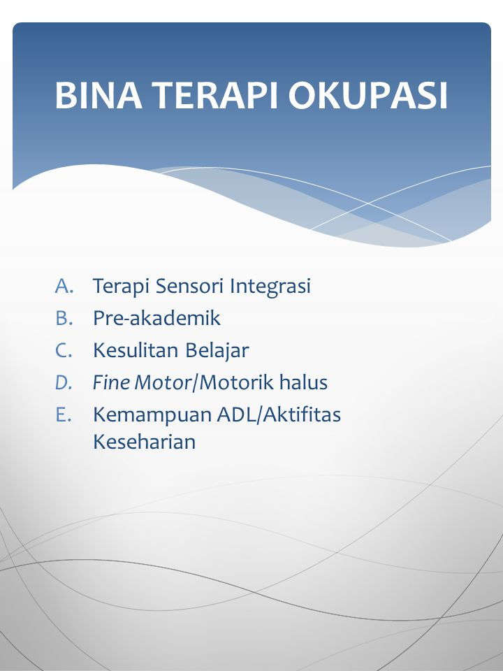 A.Terapi Sensori Integrasi B.Pre-akademik C.Kesulitan Belajar D.Fine Motor/Motorik halus E.Kemampuan ADL/Aktifitas Keseharian BINA TERAPI OKUPASI