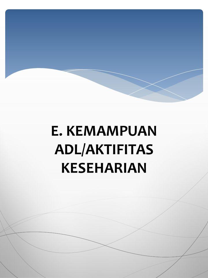 E. KEMAMPUAN ADL/AKTIFITAS KESEHARIAN