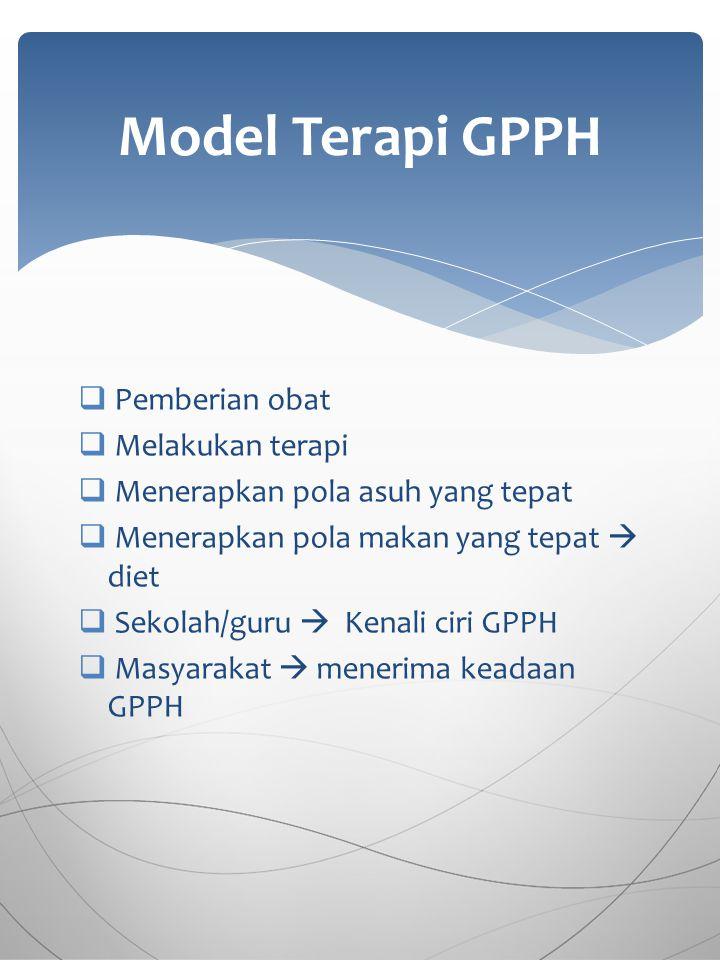  Pemberian obat  Melakukan terapi  Menerapkan pola asuh yang tepat  Menerapkan pola makan yang tepat  diet  Sekolah/guru  Kenali ciri GPPH  Ma
