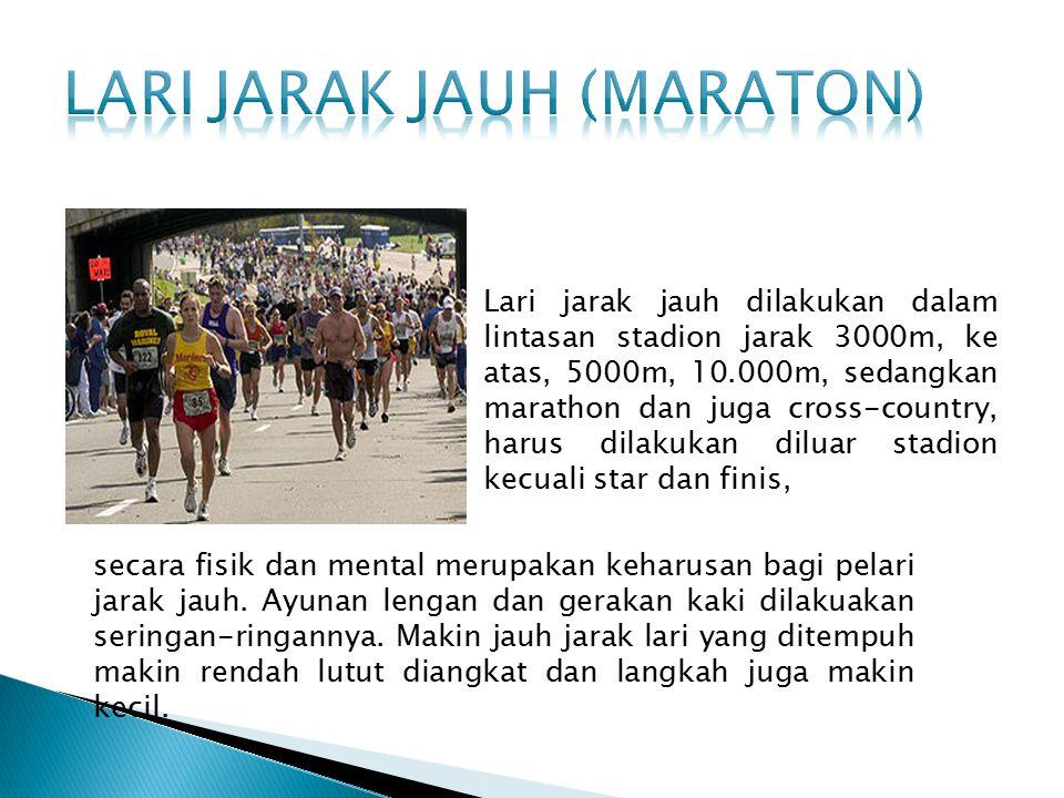 Yang perlu diperhatikan pada lari jarak menengah:  Badan harus selalu rilaks atau santai.