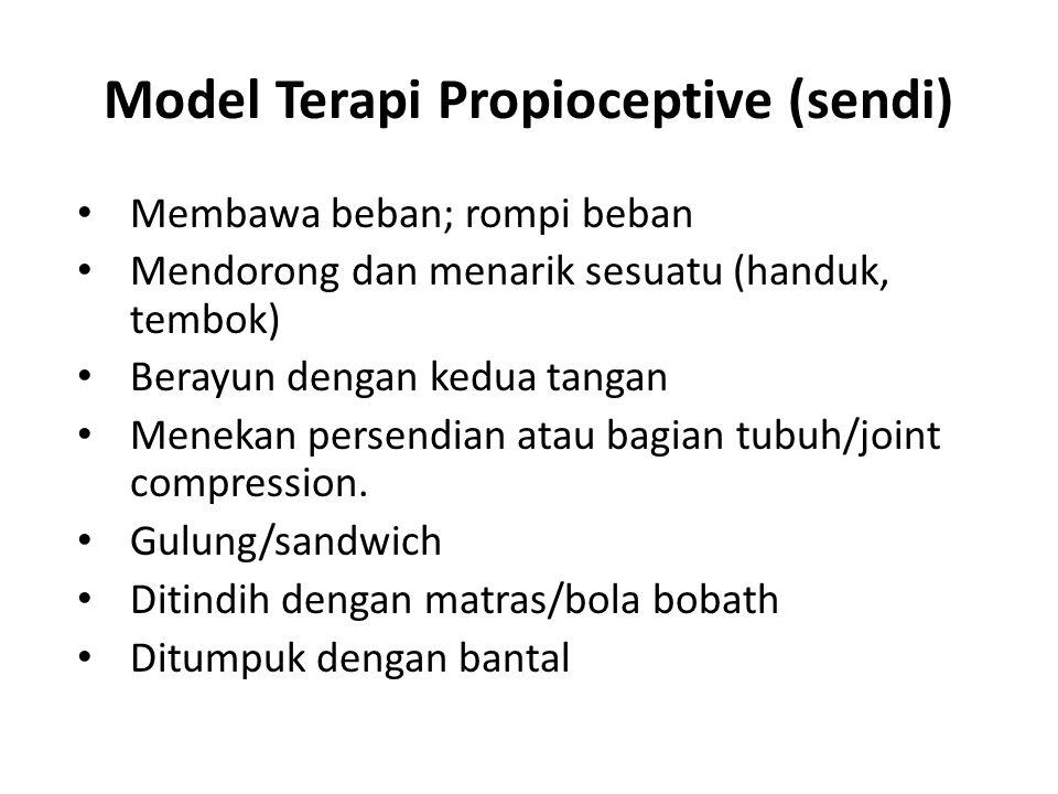 Model Terapi Propioceptive (sendi) Membawa beban; rompi beban Mendorong dan menarik sesuatu (handuk, tembok) Berayun dengan kedua tangan Menekan persendian atau bagian tubuh/joint compression.