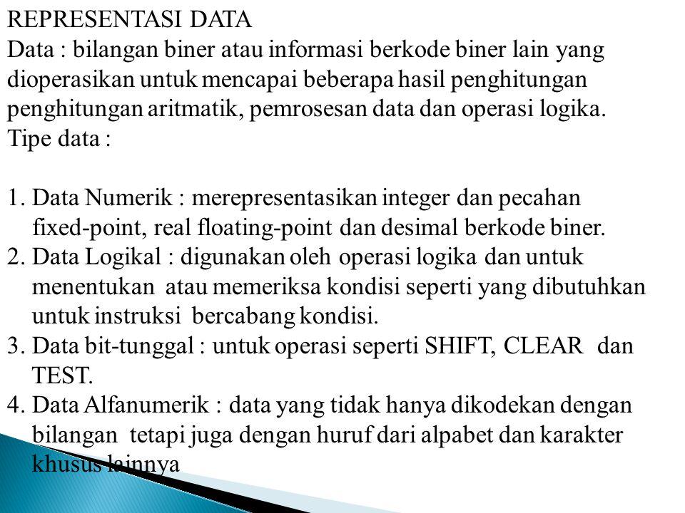 REPRESENTASI DATA Data : bilangan biner atau informasi berkode biner lain yang dioperasikan untuk mencapai beberapa hasil penghitungan penghitungan aritmatik, pemrosesan data dan operasi logika.
