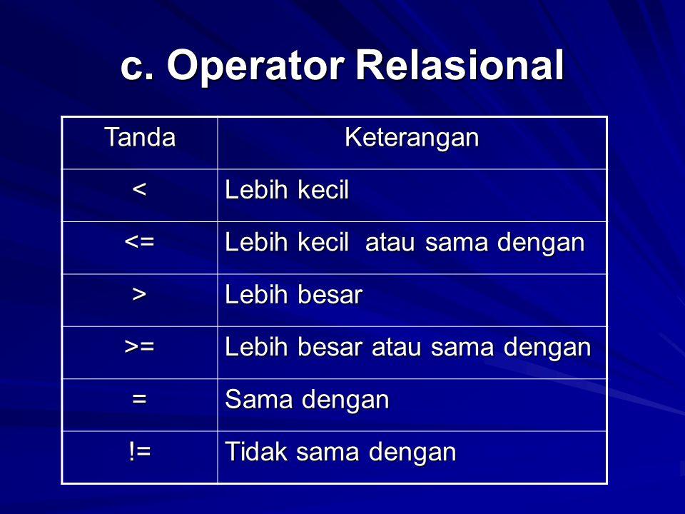 c. Operator Relasional TandaKeterangan < Lebih kecil <= Lebih kecil atau sama dengan > Lebih besar >= Lebih besar atau sama dengan = Sama dengan != Ti