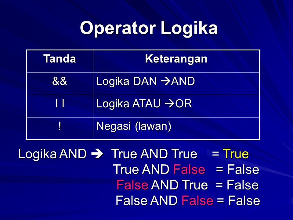 Operator Logika Operator Logika TandaKeterangan && Logika DAN  AND I I Logika ATAU  OR ! Negasi (lawan) Logika AND  True AND True = True True AND F