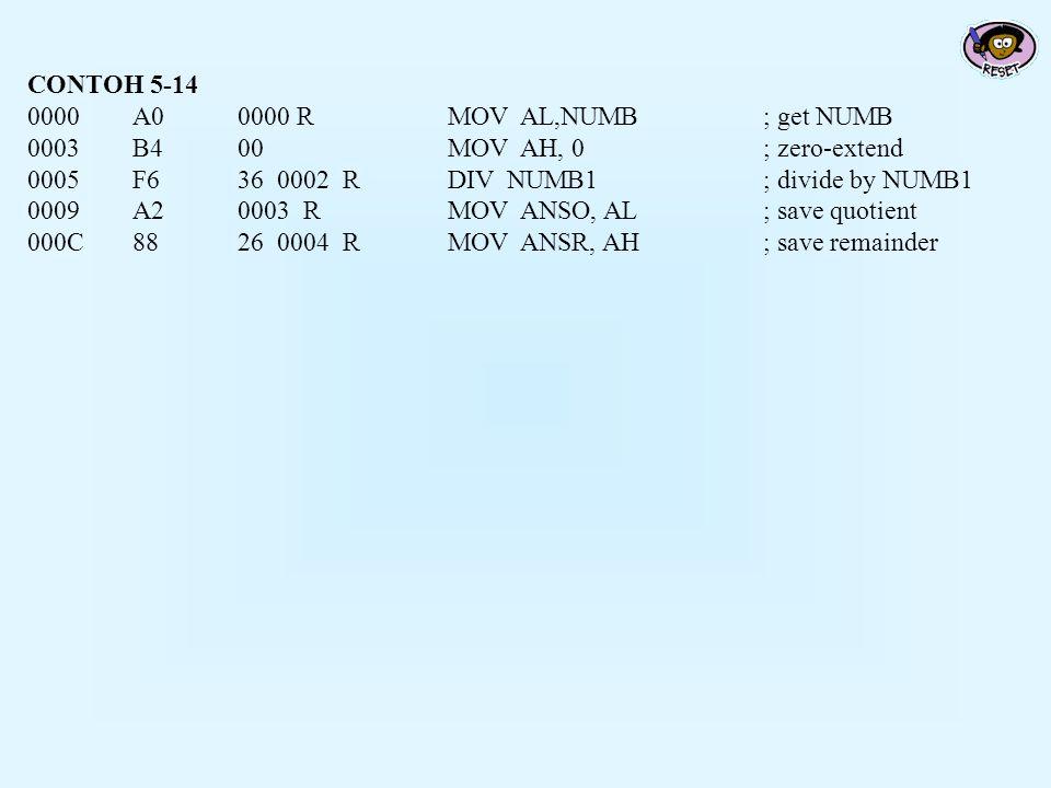 CONTOH 5-14 0000A0 0000 RMOV AL,NUMB; get NUMB 0003B4 00MOV AH, 0; zero-extend 0005F6 36 0002 RDIV NUMB1; divide by NUMB1 0009A2 0003 RMOV ANSO, AL; s