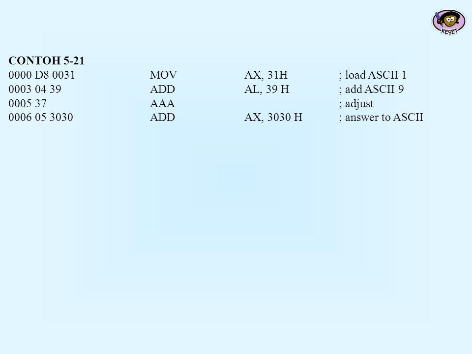 CONTOH 5-21 0000 D8 0031MOVAX, 31H; load ASCII 1 0003 04 39ADDAL, 39 H; add ASCII 9 0005 37AAA; adjust 0006 05 3030ADDAX, 3030 H; answer to ASCII