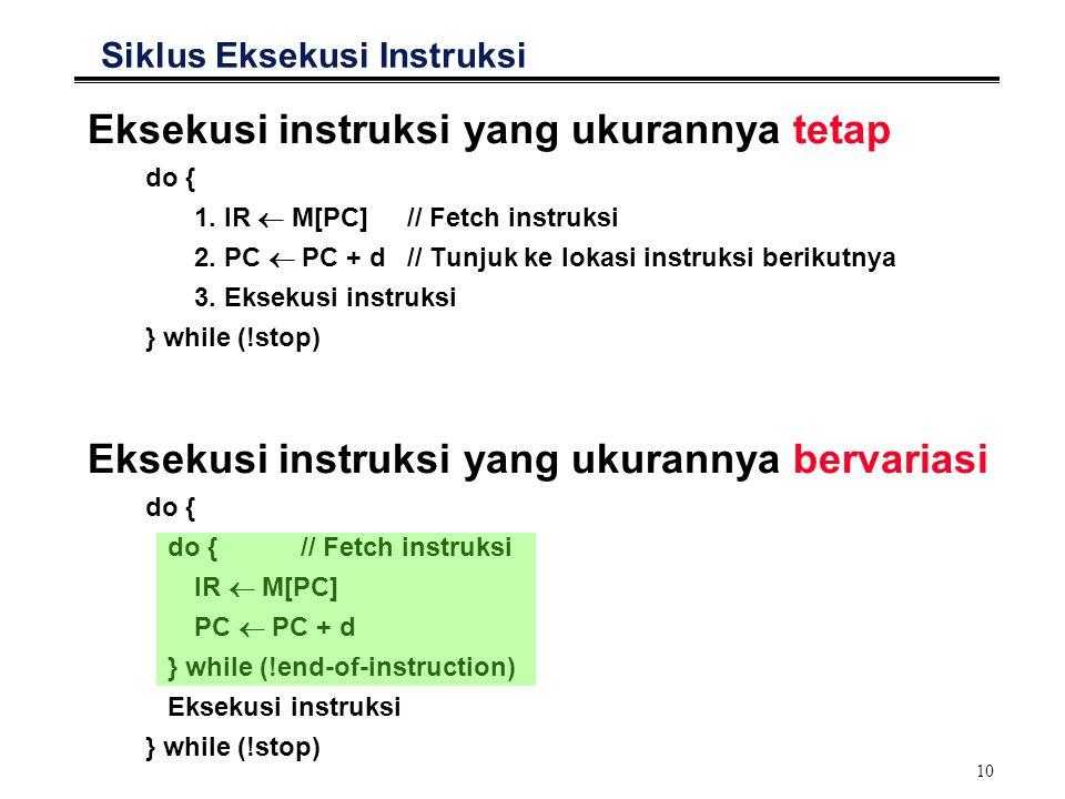 10 Eksekusi instruksi yang ukurannya tetap do { 1. IR  M[PC]// Fetch instruksi 2. PC  PC + d// Tunjuk ke lokasi instruksi berikutnya 3. Eksekusi ins