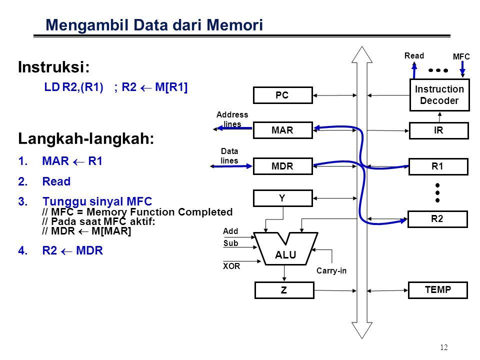 12 Mengambil Data dari Memori Instruksi: LDR2,(R1); R2  M[R1] Langkah-langkah: 1.MAR  R1 2.Read 3.Tunggu sinyal MFC // MFC = Memory Function Complet