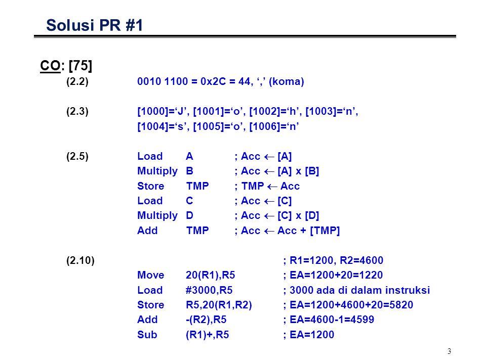 3 Solusi PR #1 CO: [75] (2.2)0010 1100 = 0x2C = 44, ',' (koma) (2.3)[1000]='J', [1001]='o', [1002]='h', [1003]='n', [1004]='s', [1005]='o', [1006]='n'