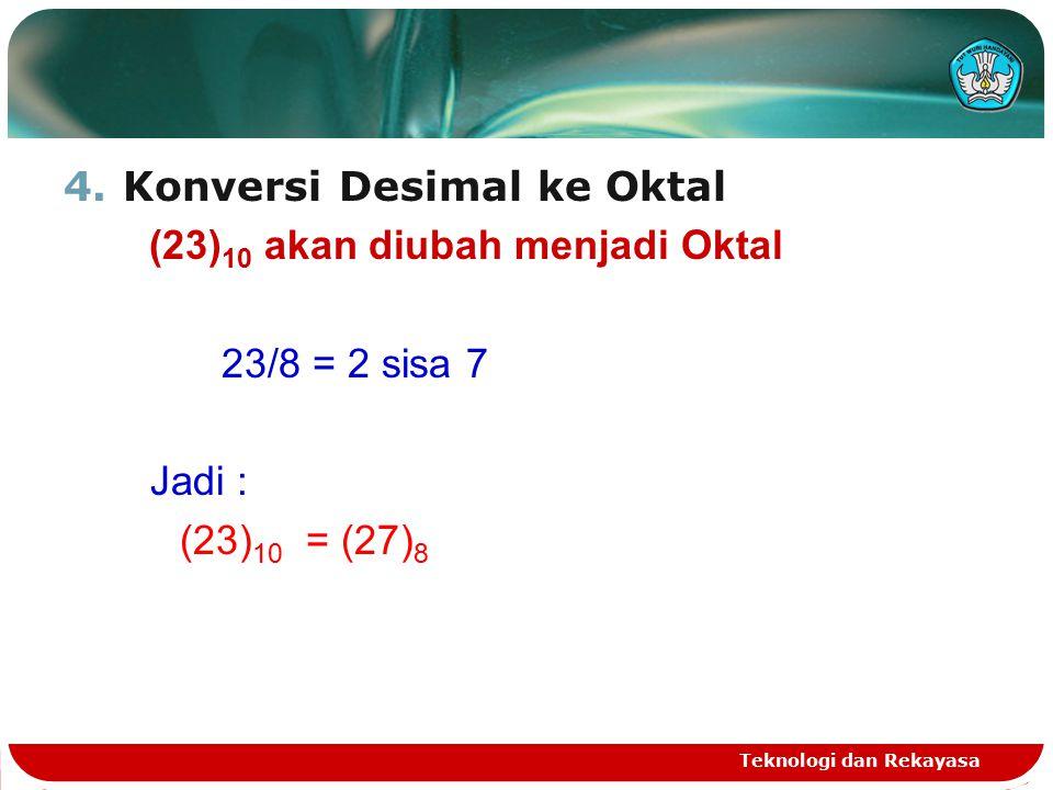 4.Konversi Desimal ke Oktal (23) 10 akan diubah menjadi Oktal 23/8 = 2 sisa 7 Jadi : (23) 10 = (27) 8 Teknologi dan Rekayasa