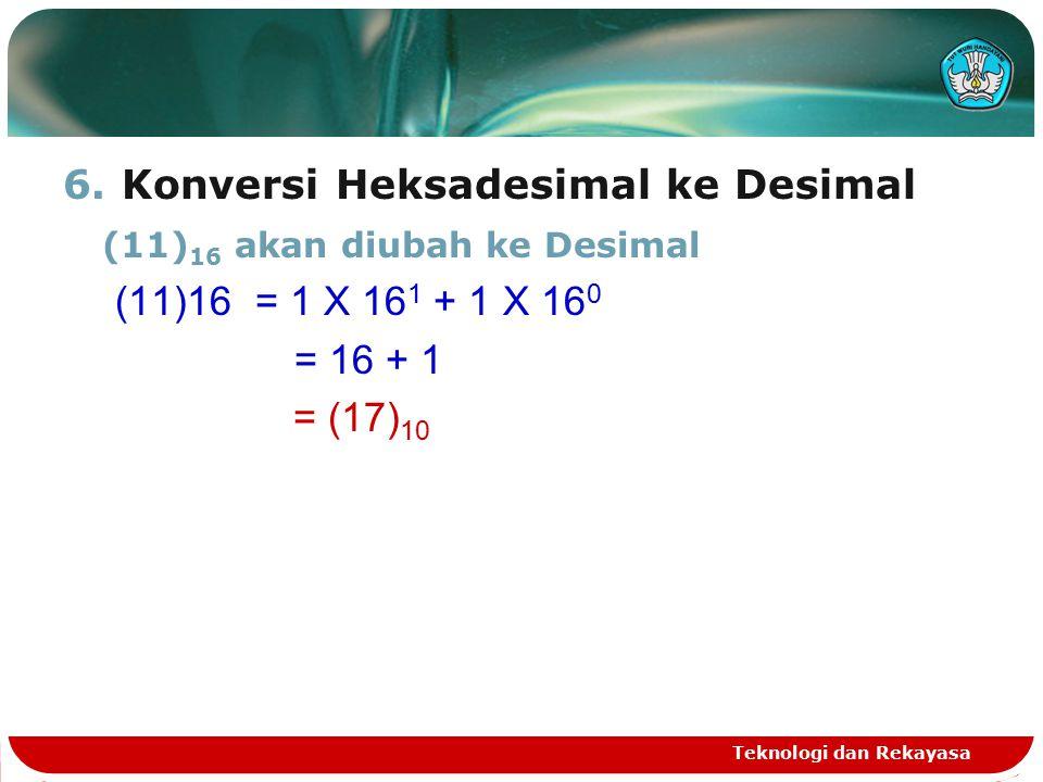 6.Konversi Heksadesimal ke Desimal (11) 16 akan diubah ke Desimal (11)16 = 1 X 16 1 + 1 X 16 0 = 16 + 1 = (17) 10 Teknologi dan Rekayasa