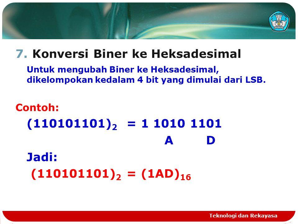 7.Konversi Biner ke Heksadesimal Untuk mengubah Biner ke Heksadesimal, dikelompokan kedalam 4 bit yang dimulai dari LSB.