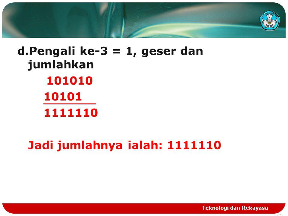 d.Pengali ke-3 = 1, geser dan jumlahkan 101010 10101 1111110 Jadi jumlahnya ialah: 1111110 Teknologi dan Rekayasa