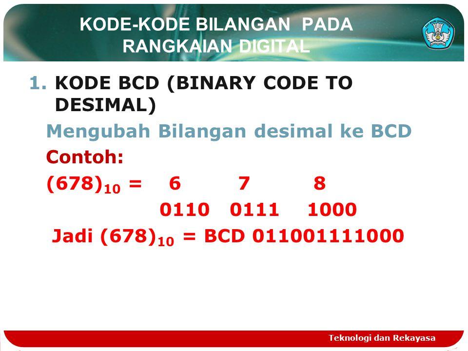 KODE-KODE BILANGAN PADA RANGKAIAN DIGITAL 1.KODE BCD (BINARY CODE TO DESIMAL) Mengubah Bilangan desimal ke BCD Contoh: (678) 10 = 6 7 8 0110 0111 1000 Jadi (678) 10 = BCD 011001111000 Teknologi dan Rekayasa
