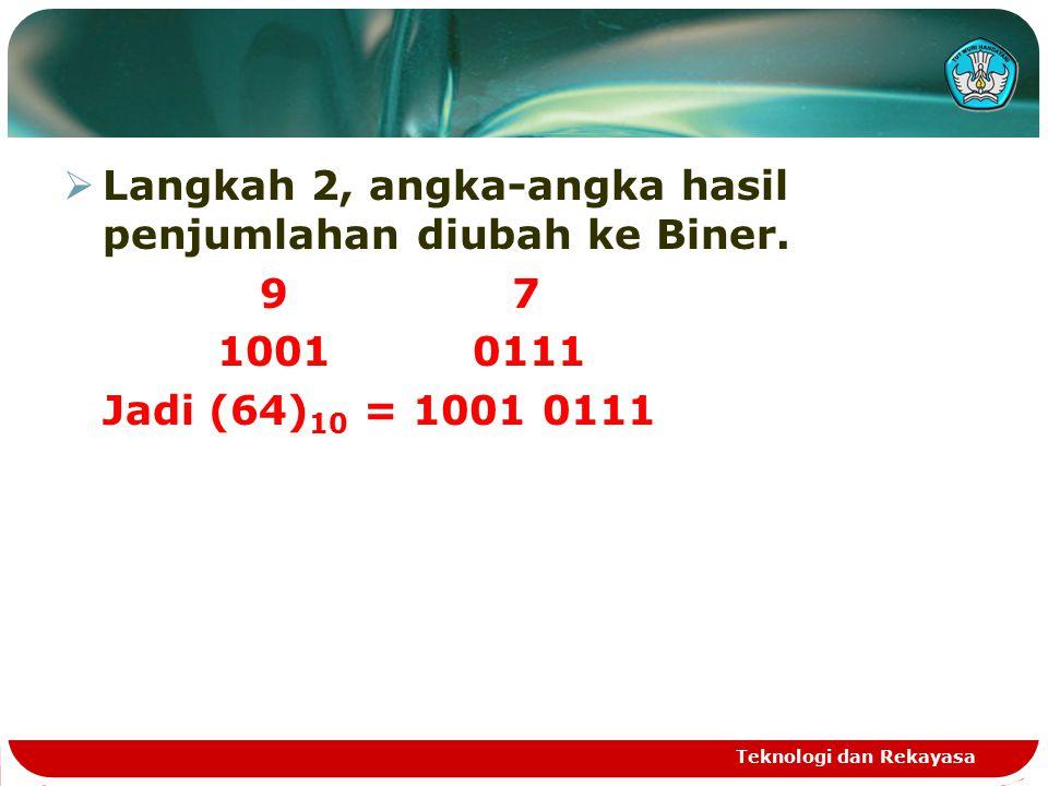  Langkah 2, angka-angka hasil penjumlahan diubah ke Biner.