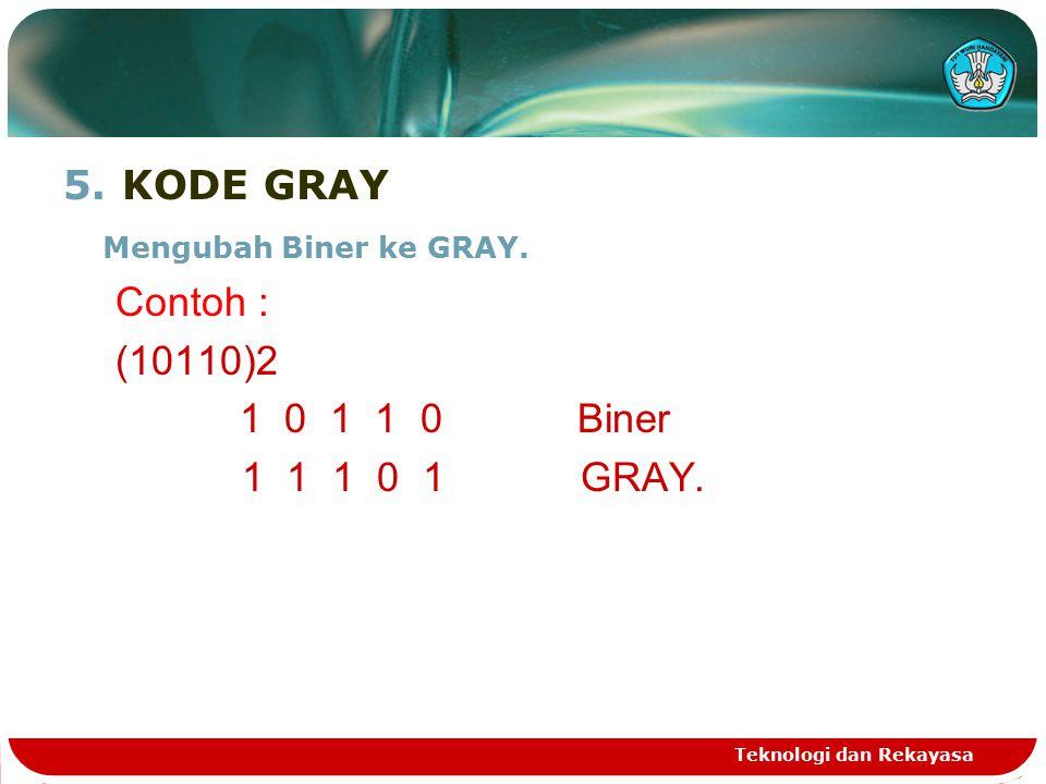 5.KODE GRAY Mengubah Biner ke GRAY.Contoh : (10110)2 1 0 1 1 0 Biner 1 1 1 0 1 GRAY.