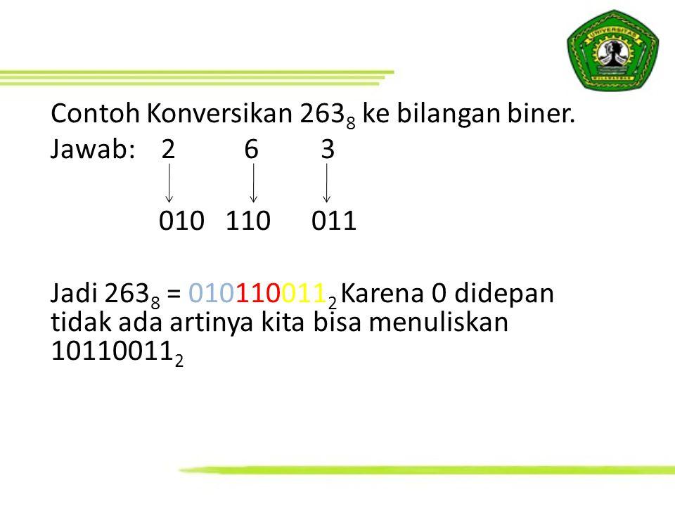 Contoh Konversikan 263 8 ke bilangan biner. Jawab: 2 6 3 010 110 011 Jadi 263 8 = 010110011 2 Karena 0 didepan tidak ada artinya kita bisa menuliskan