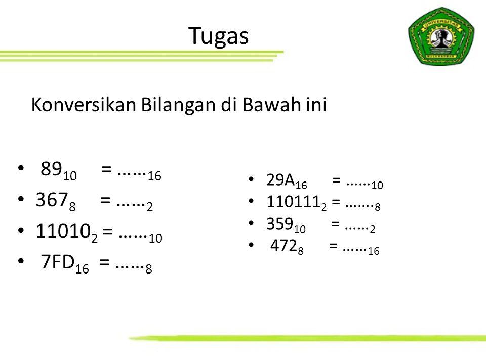 Tugas Konversikan Bilangan di Bawah ini 89 10 = …… 16 367 8 = …… 2 11010 2 = …… 10 7FD 16 = …… 8 29A 16 = …… 10 110111 2 = ……. 8 359 10 = …… 2 472 8 =