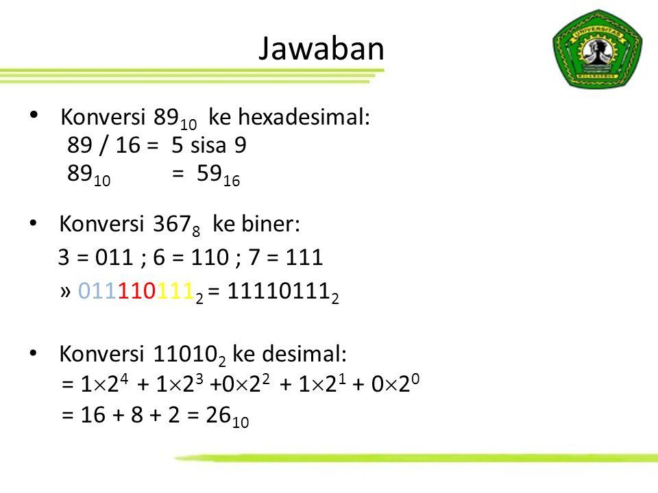 Konversi 89 10 ke hexadesimal: 89 / 16 = 5 sisa 9 89 10 = 59 16 Konversi 367 8 ke biner: 3 = 011 ; 6 = 110 ; 7 = 111 » 011110111 2 = 11110111 2 Konver