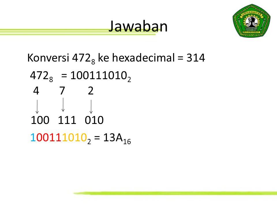Jawaban Konversi 472 8 ke hexadecimal = 314 472 8 = 100111010 2 4 7 2 100 111 010 100111010 2 = 13A 16