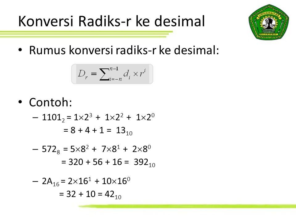 Konversi Radiks-r ke desimal Rumus konversi radiks-r ke desimal: Contoh: – 1101 2 = 1  2 3 + 1  2 2 + 1  2 0 = 8 + 4 + 1 = 13 10 – 572 8 = 5  8 2