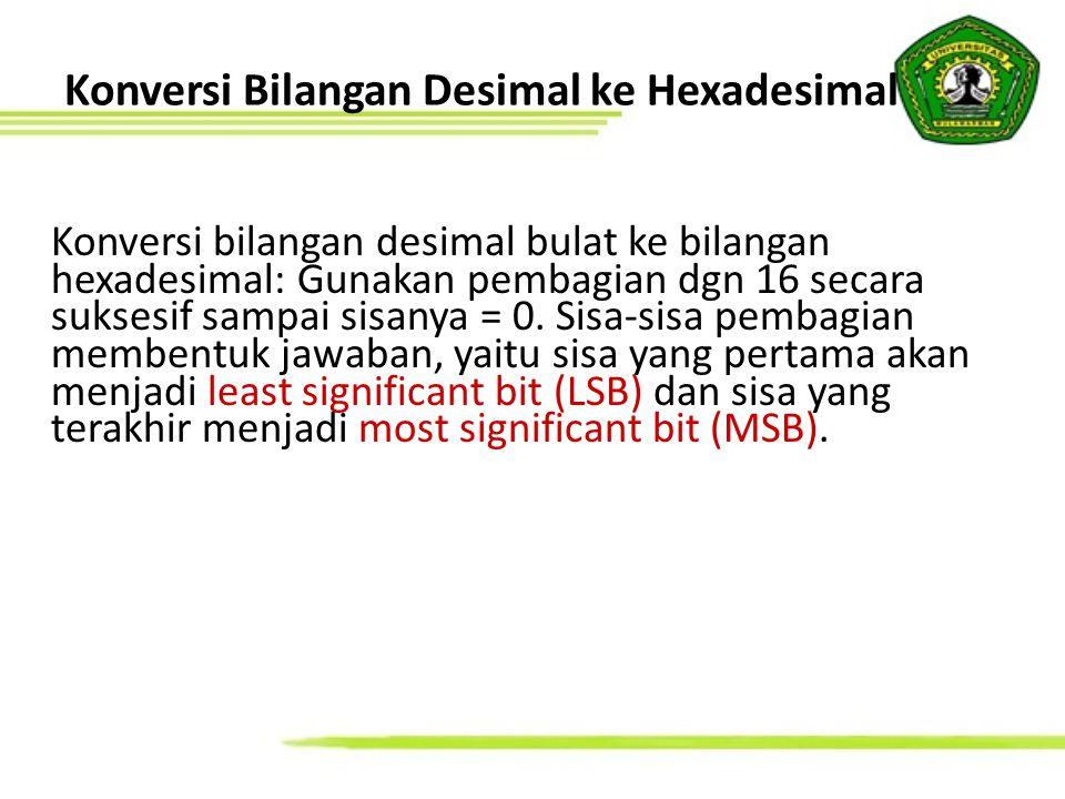 Konversi 89 10 ke hexadesimal: 89 / 16 = 5 sisa 9 89 10 = 59 16 Konversi 367 8 ke biner: 3 = 011 ; 6 = 110 ; 7 = 111 » 011110111 2 = 11110111 2 Konversi 11010 2 ke desimal: = 1  2 4 + 1  2 3 +0  2 2 + 1  2 1 + 0  2 0 = 16 + 8 + 2 = 26 10 Jawaban