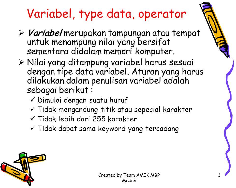 Created by Team AMIK MBP Medan 1 Variabel, type data, operator  Variabel merupakan tampungan atau tempat untuk menampung nilai yang bersifat sementar