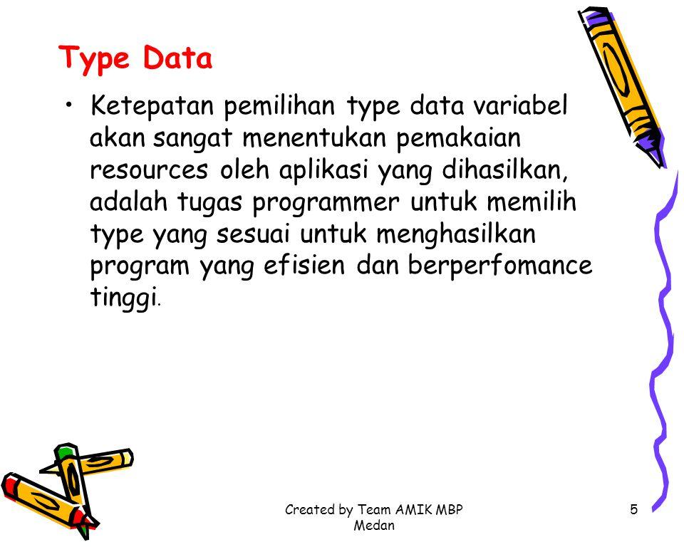 Created by Team AMIK MBP Medan 5 Type Data Ketepatan pemilihan type data variabel akan sangat menentukan pemakaian resources oleh aplikasi yang dihasi