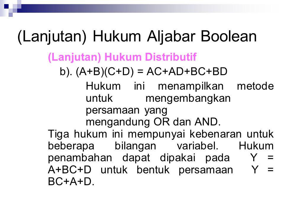 (Lanjutan) Hukum Aljabar Boolean (Lanjutan) Hukum Distributif b). (A+B)(C+D) = AC+AD+BC+BD Hukum ini menampilkan metode untuk mengembangkan persamaan