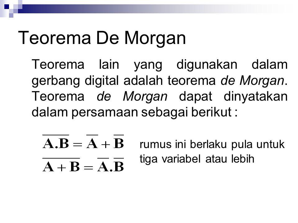Teorema De Morgan Teorema lain yang digunakan dalam gerbang digital adalah teorema de Morgan. Teorema de Morgan dapat dinyatakan dalam persamaan sebag