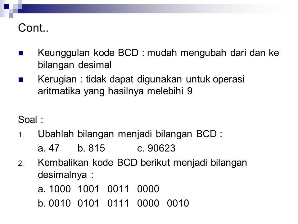 Cont.. Keunggulan kode BCD : mudah mengubah dari dan ke bilangan desimal Kerugian : tidak dapat digunakan untuk operasi aritmatika yang hasilnya meleb